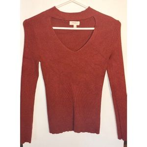 Rust Ribbed Top with Choker Neckline